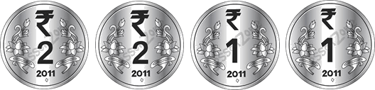 This image show four different coins – Choice C