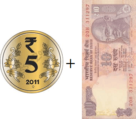 This image shown the addition of two notes or coins – Choice C
