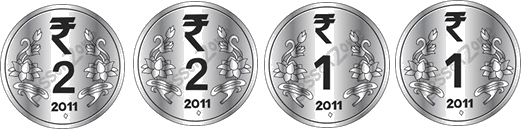 This image shown the set of coins Rinky take– Choice C