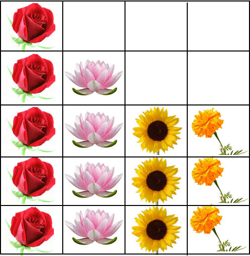 This pictograph shows many flowers