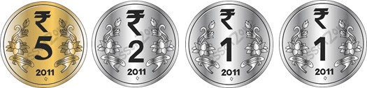 This image show four different coins – Choice B