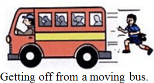 Image shows the safety rules while traveling in a bus:Choice C