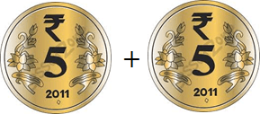 This image shown the addition of two notes or coins – Choice A
