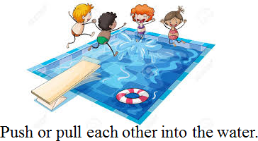 Image shows the safety rule related a swimming pool – Choice B