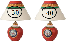 This figure shows two pair of lamps with price – Choice C