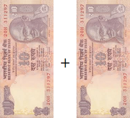 This image shown the addition of two notes or coins – Choice B