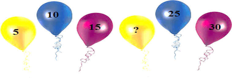 Six balloons with numbers on it.