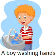 The image of a boy washing hands