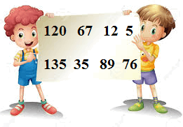 Two kids are holding a sheet full of different numbers.