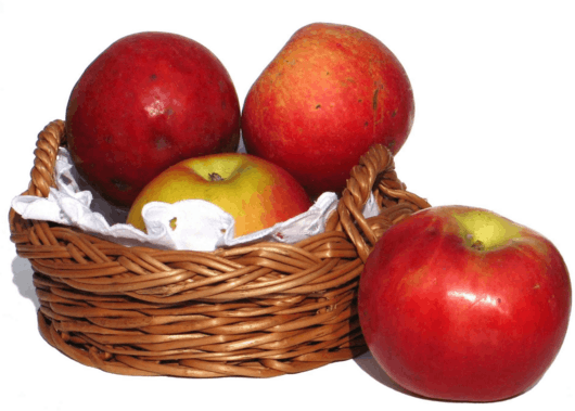 Image of apples in basket – Each box is Rs. 2
