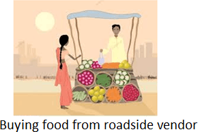 The image of buying food from roadside vendor