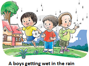 This figure shows boys getting wet in the rain