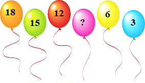 Six balloons with numbers on it and one number missing