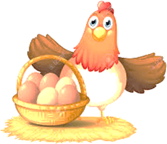 One hen with basket of eggs.
