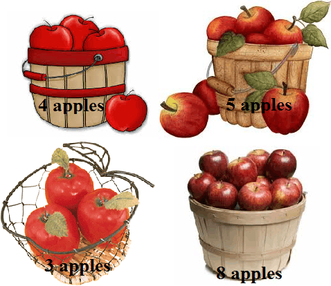 4 basket of apples are given