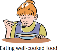 The image of eating well-cooked food