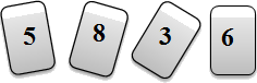Four cards showing numbers 5,8,3 & 6.