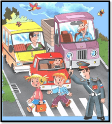 The image is children on road having lines