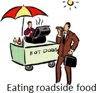 The image of eating roadside food
