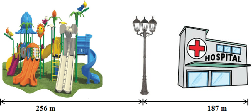 Diagram of the playground, lamp post, and hospital