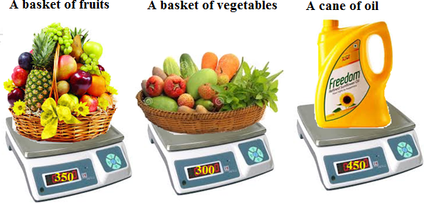 images of basket of fruits, a basket of vegetables, can of oil