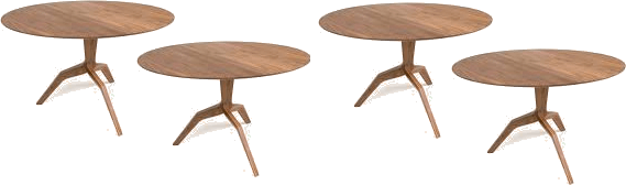 4 tables with 3 legs each
