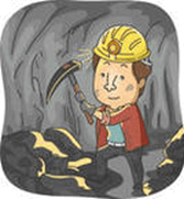 The image of a person working in mines