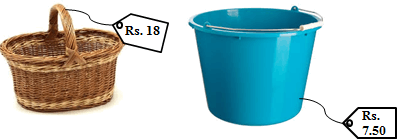 The images of the basket and the bucket with cost