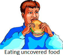 The image of eating uncovered food