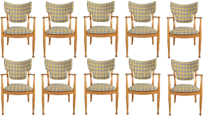 12 chairs arranged in 2 rows by Krisha