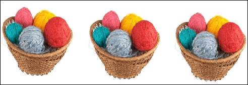 Basket with 5 woollen balls in each