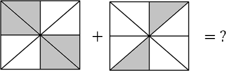 The image represents 6 parts shaded in both square