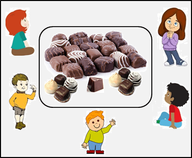 The image of four children's and chocolates