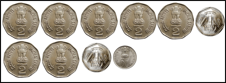 represent the coins of 5 rupee, 2rupee, 1 rupee and50 choice D