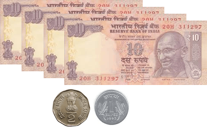 the 10 rupees notes and 5, 2, 1 and 50 paise coins – choice D