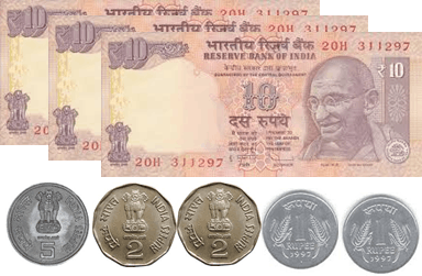 the 10 rupees notes and 5, 2, 1 and 50 paise coins – choice C