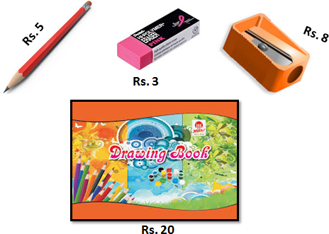 Image of the pencil, eraser, sharpener and drawing book