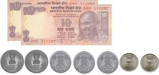 The image defines the 10 rupees notes and coins – choice C
