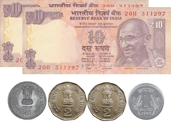 The image defines the 10 rupees notes and coins – choice A
