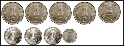 represent the coins of 5 rupee, 2rupee, 1 rupee 50 choice A