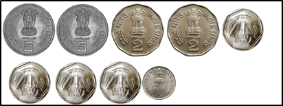 represent the coins of 5 rupee, 2rupee, 1 rupee and 50 choice B