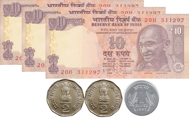 The image defines the 10 rupees notes and coins – choice B