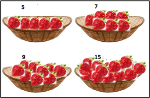 The image of four baskets of strawberries