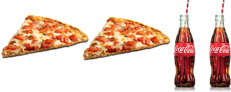 This image is 2 pizza slice and 2 small Coca-Cola