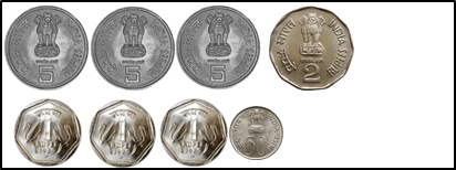 represent the coins of 5 rupee, 2rupee, 1 rupee and 50 choice C