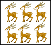 The image of six deers