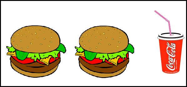 Two burger and coke are given in this image