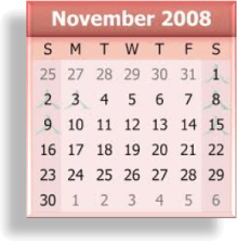 This is November 2008 calendar
