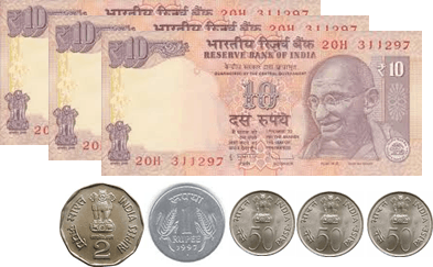 The image defines the 10 rupees notes and coins – choice D