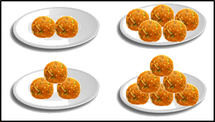 The image defines four plates of ladoos